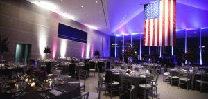 A patriotic wedding venue designed by EBE Talent's on-staff wedding planners